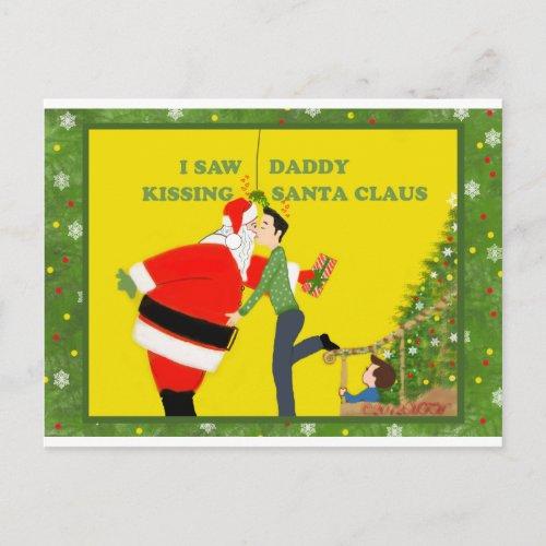 I Saw Daddy Kissing Santa Claus Gay Christmas Holiday Postcard