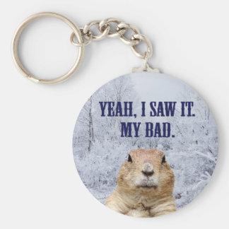 I Saw It Groundhog Day Keychain