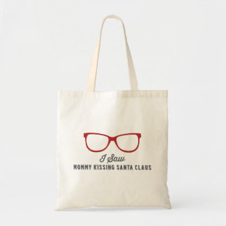 I Saw Mommy Kissing Santa Claus | Red Tote Bag