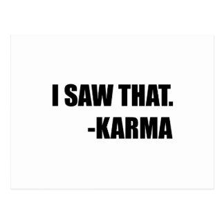 I Saw That Karma Postcard