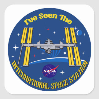 I Saw The ISS!! Square Stickers
