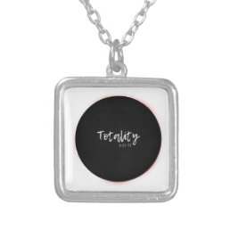 I saw totality Total Solar Eclipse Cool Graphic Silver Plated Necklace