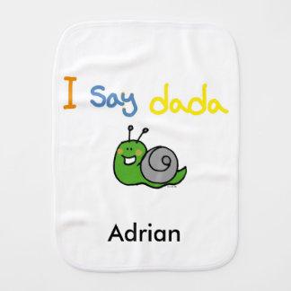 i say dada - name customized baby burp cloths