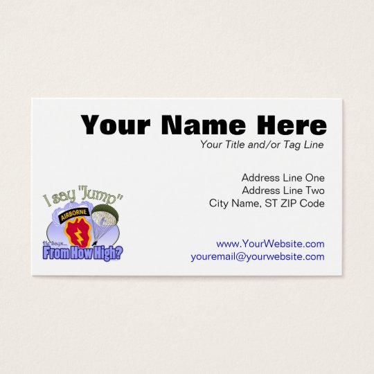 I Say Jump [25th Infantry Division] Business Card