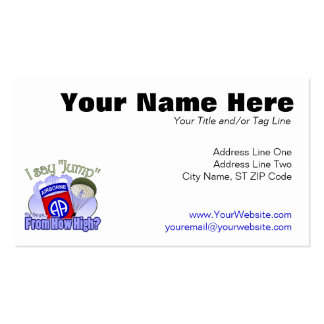 I Say Jump [82nd Airborne] Double-Sided Standard Business Cards (Pack Of 100)