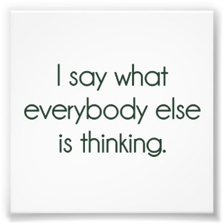 I Say What Everybody Else Is Thinking Photo Print