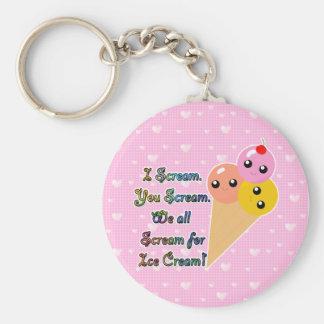 I Scream for Ice Cream Basic Round Button Keychain