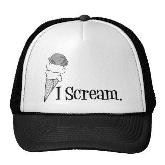I Scream Ice Cream Cone B&W Mesh Hat