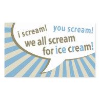 i scream! you scream! we all scream for ice cream! rectangle stickers