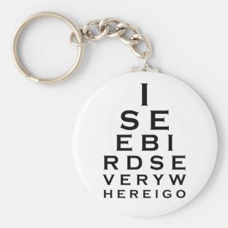 I See Birds Eyechart Keychain