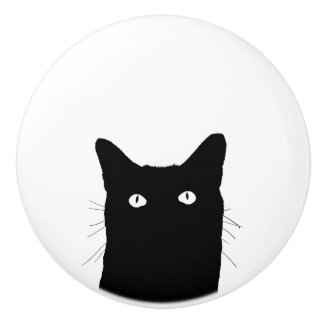 I See Cat Click to Select Your Color Background Ceramic Knob