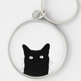 I See Cat Click to Select Your Color Decor Option Silver-Colored Round Keychain