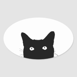 I See Cat Click to Select Your Colorful Decor Oval Sticker