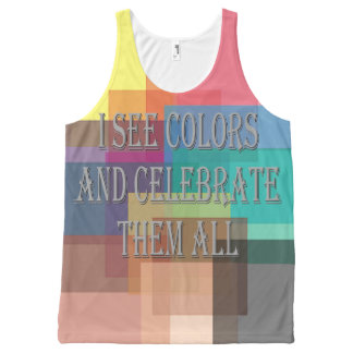 I See Colors 2 All-Over Printed Unisex Tank, L All-Over-Print Tank Top