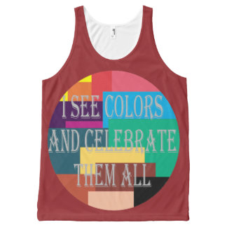 I See Colors All-Over Printed Unisex Tank, L All-Over-Print Tank Top