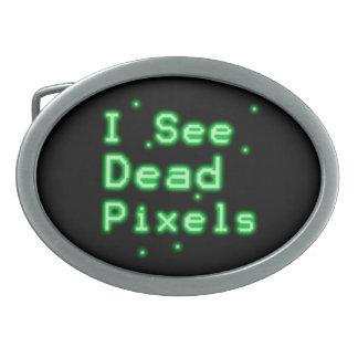 I See Dead Pixels Oval Belt Buckle