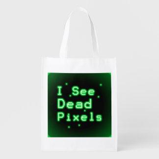 I See Dead Pixels Reusable Grocery Bag