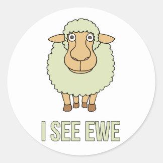 I See Ewe Round Stickers