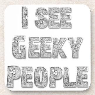 I See Geeky People Drink Coaster