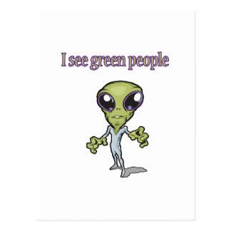 I See Green People Alien Design Postcard