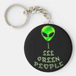 I See Green People Key Chain