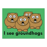 I see groundhogs 5x7 paper invitation card