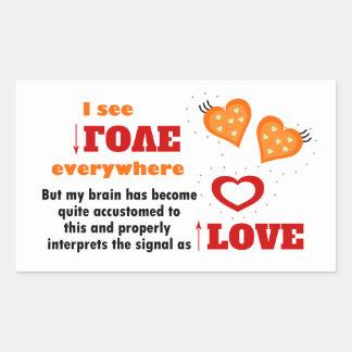 I see love everywhere rectangular sticker
