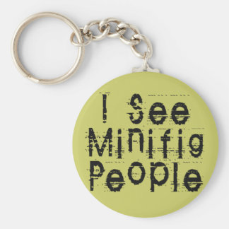 I See Minifig People by Customize My Minifig Basic Round Button Keychain