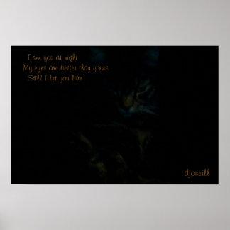 I see you at night Cat Haiku Poster