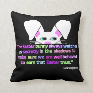 I See You, Easter Bunny Black Throw Pillow