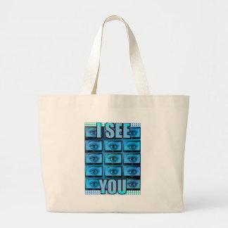 I See You Eye Ball Television Large Tote Bag
