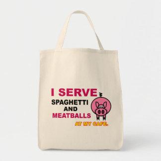 """""""I Serve Spaghetti at My Cafe"""" Tote Bag"""