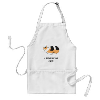 I serve the cat first apron