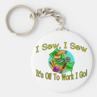 I Sew Basic Round Button Keychain