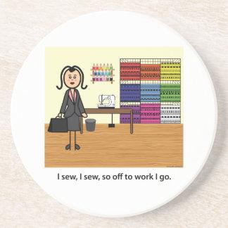 I Sew I Sew So Off To Work I Go Beverage Coasters