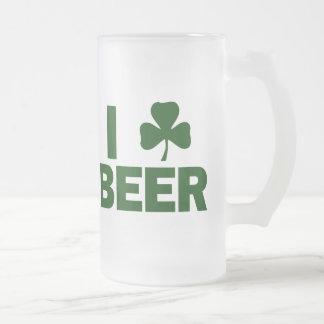 I Shamrock Beer 16 Oz Frosted Glass Beer Mug