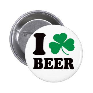 I Shamrock Beer 2 Inch Round Button