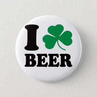 I Shamrock Beer Pinback Button