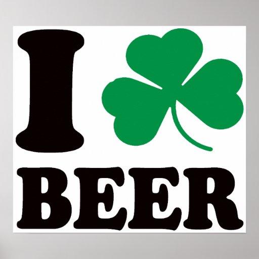I Shamrock Beer Poster