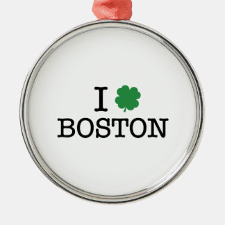 I Shamrock Boston Round Metal Christmas Ornament