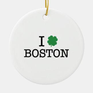I Shamrock Boston Double-Sided Ceramic Round Christmas Ornament