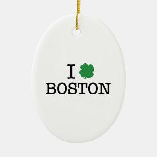 I Shamrock Boston Double-Sided Oval Ceramic Christmas Ornament