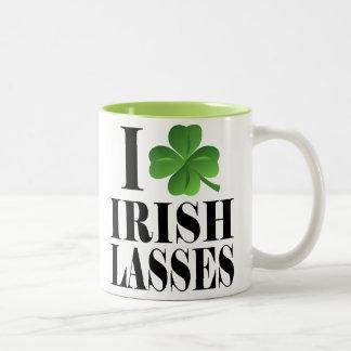 I Shamrock, Heart Irish Lasses, St-Patrick's Day Two-Tone Coffee Mug