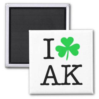 I Shamrock (Love Heart) Alaska AK 2 Inch Square Magnet