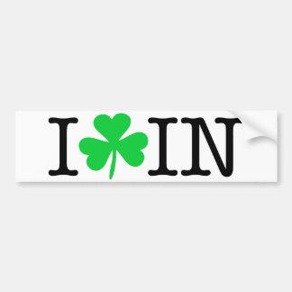 I Shamrock (Love Heart) Indiana IN Bumper Sticker