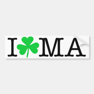 I Shamrock (Love Heart) MA Massachusetts Bumper Sticker