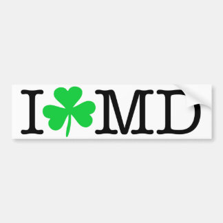 I Shamrock (Love Heart) MD Maryland Bumper Sticker
