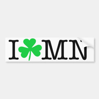 I Shamrock (Love Heart) MN Minnesota Bumper Sticker