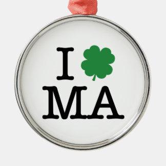 I Shamrock MA Round Metal Christmas Ornament