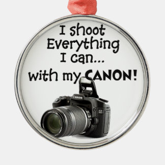 I shoot everything I can Round Metal Christmas Ornament
